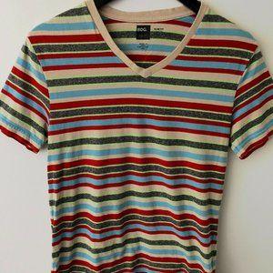 BDG Striped Slim Fit V-Neck Shirt Trendy Cotton